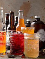 Ohio made sodas for Crave. (in glasses from left) Old City hibiscus. Norka orange and Rambling House sassparilla. (Will Shilling/Crave)
