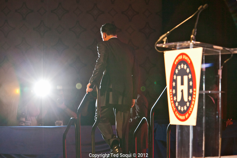 Presidential hopeful Mitt Romney speaks to a Hispanic Chamber of Commerce  in Downtown L.A. .Candidate Romney is attempting to reach out to the Latino vote, where he trails President Obama...