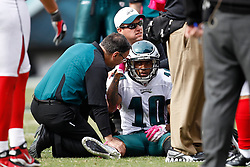 Philadelphia Eagles wide receiver DeSean Jackson #10 is attended to my Philadelphia Eagles trainers and physicians after taking a hit during the NFL Game between the Philadelphia Eagles and the Atlanta Falcons. The Eagles won 31-17 at Lincoln Financial Field in Philadelphia, Pennsylvania on Sunday October 17th 2010. (Photo By Brian Garfinkel)