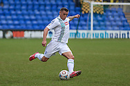 Lee Vaughan (Tranmere Rovers) sends in a cross field pass during the Vanarama National League match between Tranmere Rovers and Southport at Prenton Park, Birkenhead, England on 6 February 2016. Photo by Mark P Doherty.