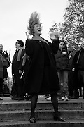MARGOT HENDERSON, INTERCOURSE: Re-enacting Eisenstein: The Odessa Steps Sequence from Battleship Potemkin<br /> Jane and Louise Wilson directed the re-enactment on the steps outside the ICA. 26 November 2011.