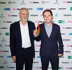 Pink News Awards 2019 <br /> At Church House, London, Great Britain <br /> 16th October 2019 <br /> <br />  Jeremy Corbyn MP<br /> Leader of the Labour Party <br /> Holds hands with Owen Jones <br /> <br /> Photograph by Elliott Franks