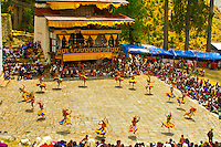 Dance of the Three Kinds of Ging with Sticks, Paro Tsechu (Festival), Paro, Bhutan