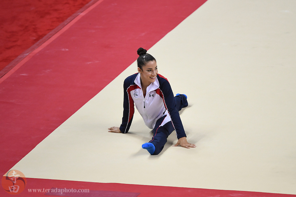 July 10, 2016; San Jose, CA, USA; Aly Raisman, Needham, MA, stretches before the women's gymnastics U.S. Olympic team trials at SAP Center.
