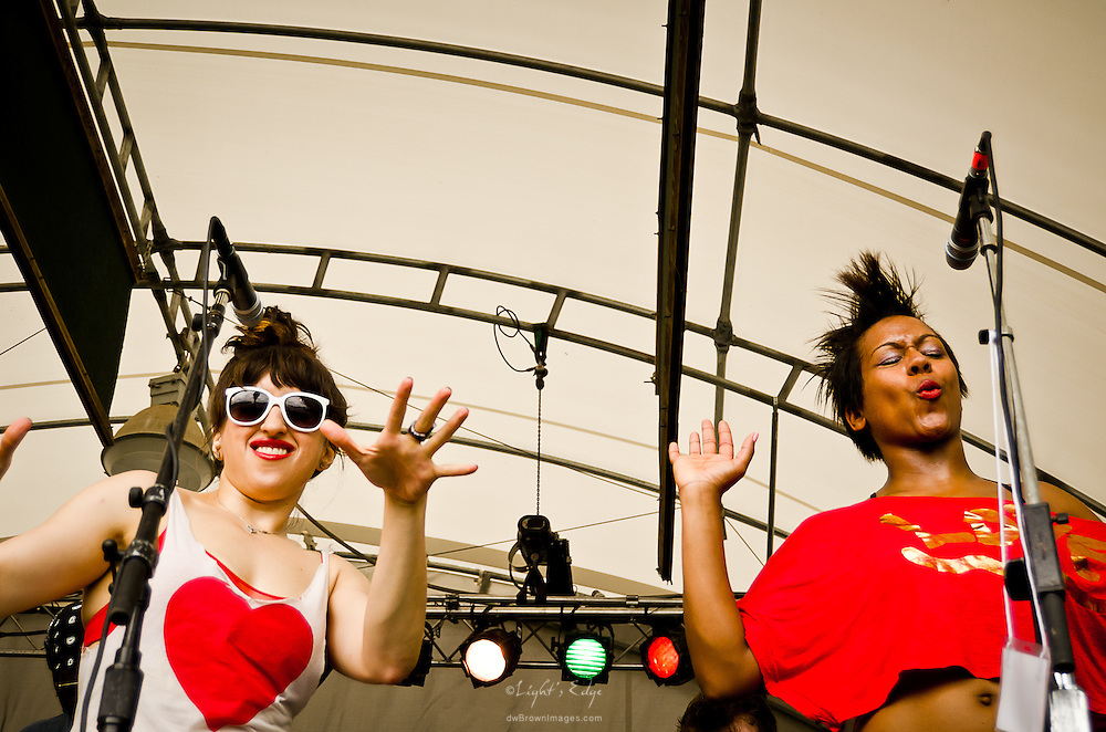 Samia Mounts and Lisa M. Ramey handle the vocals and dance moves for Brother Joscephus and the Love Revival Revolution Orchestra at The 2012 Appel Farm Arts & Music Festival.