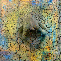 Female figure being in cracked earth. Photo based illustration.
