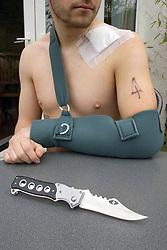 Knife crime UK Posed by model