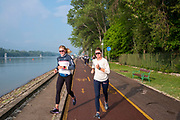 Plovdiv, Bulgaria, 10th May 2019, FISA, Rowing World Cup 1, Boat Area, USA Women's squad returning from a training run,  [© Peter SPURRIER, ]
