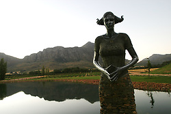 Feb 27, 2006; Tulbagh, SOUTH AFRICA; Saronsberg Winery in Tulbagh, South Africa. Saronsberg winemaker and viticulturist, Dewaldt Heyns, makes tasty wines in this ultra-modern Tulbagh winery. Exports of South African wines have grown substantially since the end of international sanctions imposed under apartheid (Credit Image: © Krista Kennell/ZUMAPRESS.com)