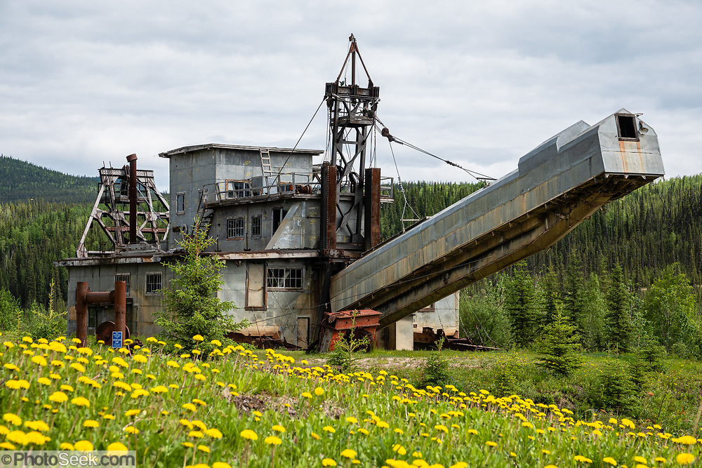 F.E. Company Dredge No. 4 (Pedro Dredge) ran 1938-1967 near Fairbanks & here in Chicken, Alaska, USA. Chicken is one of the few surviving gold rush towns in Alaska. Mining and tourism keep it alive in the summer, and about 17 people stay through the winter. Gold miners settling here in the late 1800s wanted to name it after the local ptarmigan birds, but couldn't agree on the spelling, so instead called it Chicken to avoid embarrassment. A portion of Chicken including early 1900s buildings and the F.E. Company Dredge No. 4 (Pedro Dredge) is listed as the Chicken Historic District on the National Register of Historical Places. Chicken can be reached via Chicken Airport or Alaska Route 5, the Taylor Highway, which is not maintained from mid-October through mid-March.