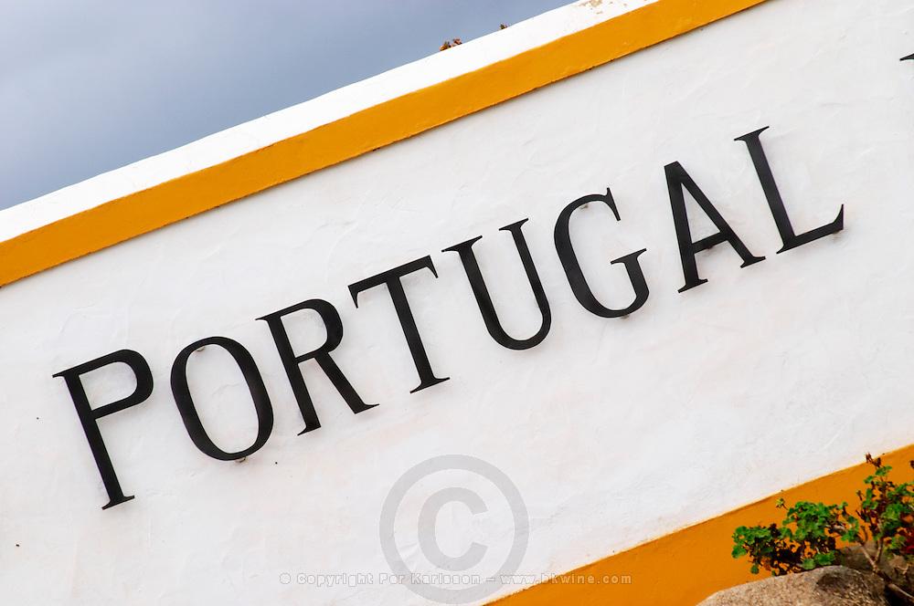Sign on the entrance gate. J Portugal Ramos Vinhos, Estremoz, Alentejo, Portugal