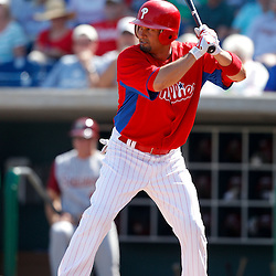 February 24, 2011; Clearwater, FL, USA; Philadelphia Phillies center fielder Shane Victorino (8) during a spring training exhibition game against the Florida State Seminoles at Bright House Networks Field. Mandatory Credit: Derick E. Hingle