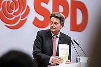 06 DEC 2019, BERLIN/GERMANY:<br /> Rolf Muetzenich, SPD Fraktionsvorsitzender, SPD Bundesprateitag, CityCube<br /> IMAGE: 20191206-01-012<br /> KEYYWORDS: Party Congress, Parteitag, Rolf Mützenich