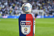 """The """"Mitre"""" match ball on the """"skybet"""" , """"EFL"""" branded plinth during the EFL Sky Bet Championship play-off second leg match between West Bromwich Albion and Aston Villa at The Hawthorns, West Bromwich, England on 14 May 2019."""