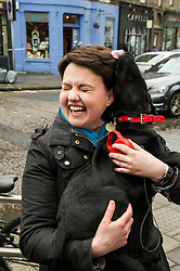 Pictured: Bunk the black labrador was whispering sweet nothings into Ruth Davidso's ear.<br /> <br /> Scottish Conservative leader Ruth Davidson was on the campaign trail in her own constituency of Edinburgh Central today.<br /> <br /> Ger Harley | EEm 3 April 2016
