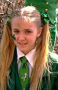 Irish youth age 11 at Downtown St Patricks  Day Parade.   St Paul  Minnesota USA