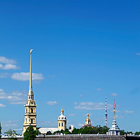 Europe, Russia, St. Petersburg. View of Peter and Pual Fortress from the Neva River.