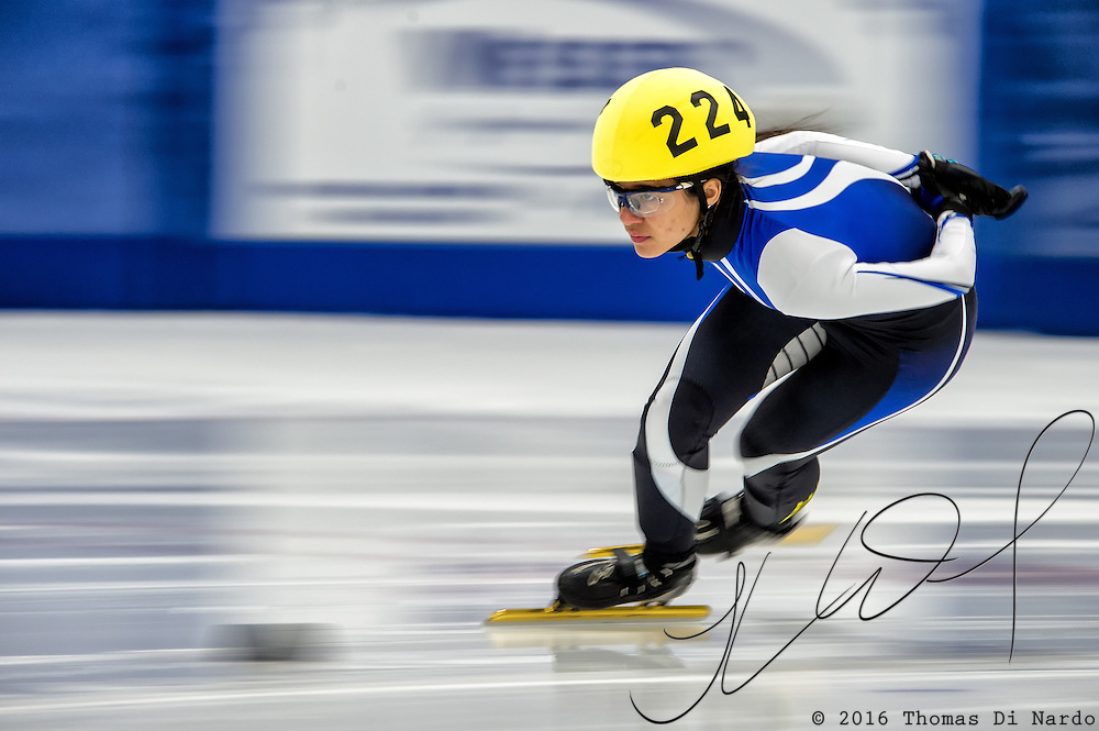 March 20, 2016 - Verona, WI - Leyka Reyes, skater number 224 competes in US Speedskating Short Track Age Group Nationals and AmCup Final held at the Verona Ice Arena.