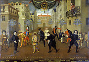 Farceurs' French and Italian characters from the Comedia del Arte. The Captain 5th from left, Harlequin 6th from left. French playwright Moliere (1622-1673) on left.  Anonymous: 17th century. Oil on canvas, 1670. collection