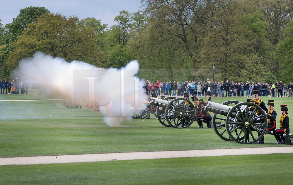 © Licensed to London News Pictures. 21/04/2017. London, UK. The King's Troop Royal Horse Artillery give a 41 Gun Royal Salute in Hyde Park to mark Queen Elizabeth II's 91st birthday. A gun salute is also taking place near Tower Bridge. The Queen's official birthday is celebrated in June with the Trooping the Colour ceremony. Photo credit: Peter Macdiarmid/LNP