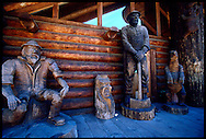 Life sized wooden sculptures carved with a chainsaw adorn the entrance to a restaurant on the road to the Oregon Coast from Portland, Oregon