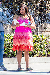 Pregnant Mindy Kaling seen on set wearing a colorful dress for 'The Mindy Project' in Los Angeles, CA. 18 Sep 2017 Pictured: Mindy Kaling. Photo credit: MEGA TheMegaAgency.com +1 888 505 6342