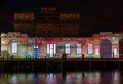 Pictured: Edinburgh Hogmanay 2019 Message to the Skies is a nightly light projection in six locations in the capital from dusk to 10pm until 25th January. Six writers -Billy Letford, Chitra Ramaswamy, Kapka Kassabova, Louise Welsh, Stef Smith and William Dalrymple and visual artists illuminate and animate buildings. The event is commissioned by Edinburgh's Hogmanay and Edinburgh International Book Festival, produced by Underbelly with Edinburgh UNESCO City of Literature Trust and supported by Creative Scotland. Leith Custom House illuminated by Chitra Ramaswamy's story. Sally Anderson/Edinburgh Elite media
