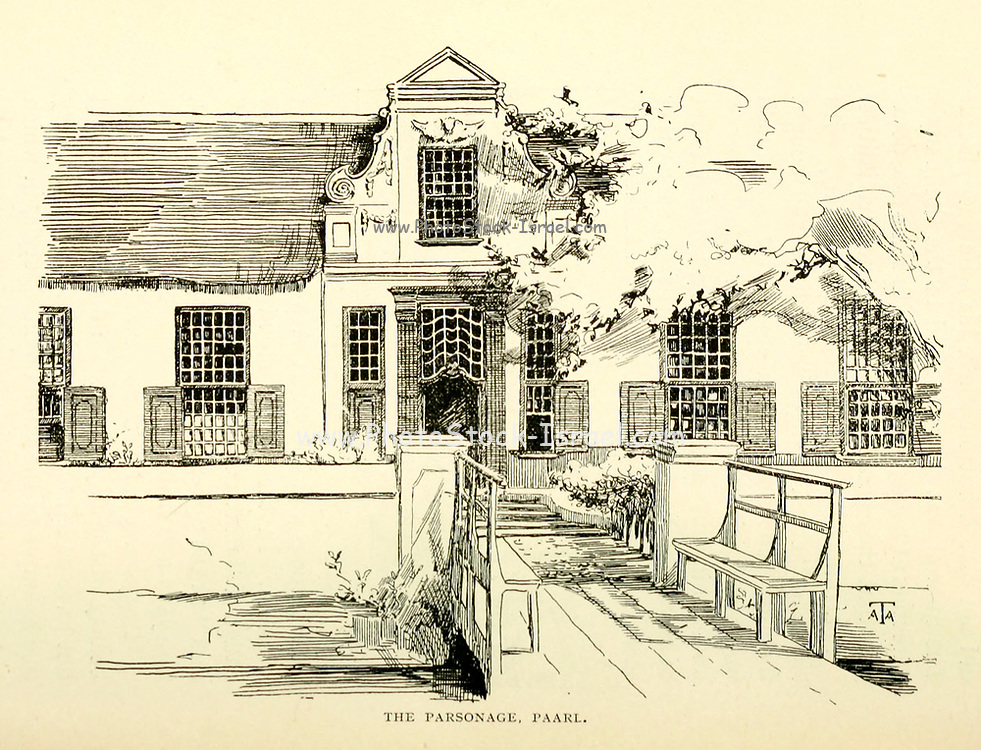The parsonage at Paarl, Cape Province, South Africa From the Book  ' Old Cape Colony; a chronicle of her men and houses from 1652-1806 ' by Trotter, Alys Fane (Keatinge), Mrs Publication date 1903 published by Westminster : A. Constable & co., ltd.