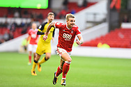 Nottingham Forest forward Jason Cummings (35) races to stop the ball going out during the EFL Sky Bet Championship match between Nottingham Forest and Burton Albion at the City Ground, Nottingham, England on 21 October 2017. Photo by Jon Hobley.