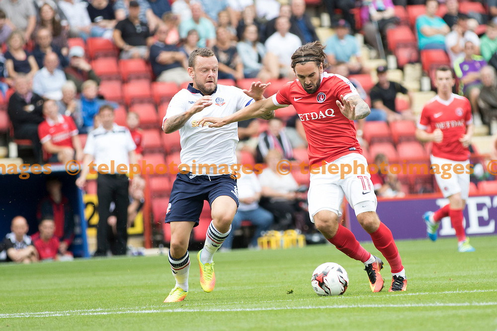 during the Sky Bet League 1 match between Charlton Athletic and Bolton Wanderers at The Valley in London. August 27, 2016.<br /> Sam Falaise / Telephoto Images<br /> +44 7967 642437