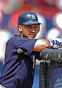 March 11, 2003, Winter Haven, Florida, USA;   New York Yankee Derek Jeter leans against the batting cage before a spring training game against the Cleveland Indians at Chain O'Lakes Stadium, Winter Haven, Florida, USA.