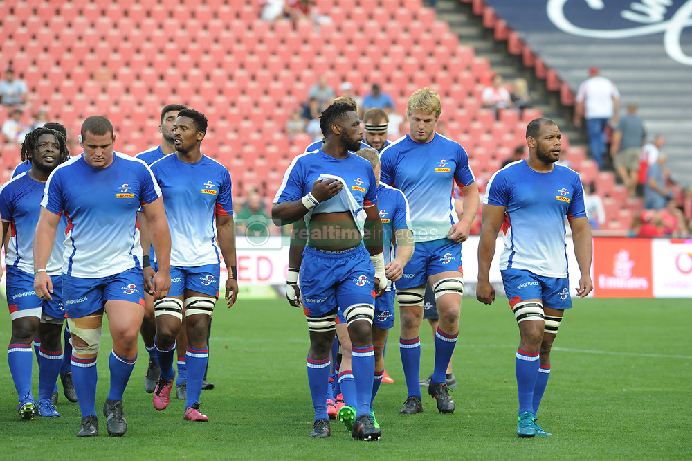 070418 Emirates Airlines Park, Ellis Park, Johannesburg, South Africa. Super Rugby. Lions vs Stormers. The Stormers team makes their way off the field after a warm-up before the start of the game.<br />Picture: Karen Sandison/African News Agency (ANA)