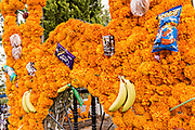 A gravesite decorated with marigolds, candy and bananas for the Day of the Dead festival October 31, 2017 in Tzintzuntzan, Michoacan, Mexico.