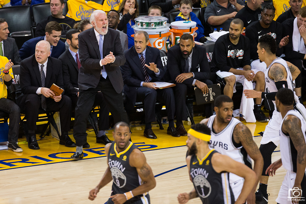 San Antonio Spurs head coach Gregg Popovich yells at his team during Game 2 of the Western Conference Quarterfinals against the Golden State Warriors at Oracle Arena in Oakland, Calif., on April 16, 2018. (Stan Olszewski/Special to S.F. Examiner)