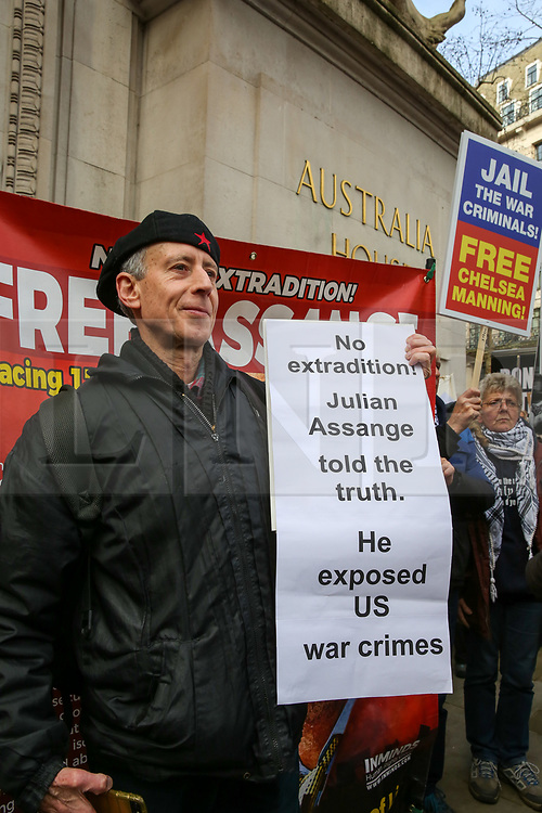© Licensed to London News Pictures. 22/02/2020. London, UK. PETER TATCHEL, gay rights activists joins with the campaigners for Wikileaks founder JULIAN ASSANGE during a rally outside Australia House, Strand, demanding that ASSANGE should not be extradited to the USA. JULIAN ASSANGE faces 18 charges in the United States including conspiring to hack government computers and violating an espionage law. His extradition trial begins at Woolwich Crown Court on Monday, 24 February 2020. Photo credit: Dinendra Haria/LNP