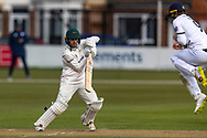 Lewis Hill drives during Day 3 of the LV= Insurance County Championship match between Leicestershire County Cricket Club and Hampshire County Cricket Club at the Uptonsteel County Ground, Leicester, United Kingdom on 10 April 2021.