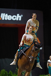Team AUS, Zidane B, Meta Jans Rooijmans - Squad Freestyle Vaulting - Alltech FEI World Equestrian Games™ 2014 - Normandy, France.<br /> © Hippo Foto Team - Jon Stroud<br /> 03/09/2014