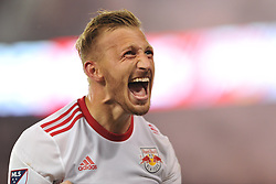 May 27, 2017 - Harrison, New Jersey, U.S - New York Red Bulls midfielder DANIEL ROYER (77) reacts after scoring the winning goal at Red Bull Arena in Harrison New Jersey New York defeats New England 2 to 1 (Credit Image: © Brooks Von Arx via ZUMA Wire)
