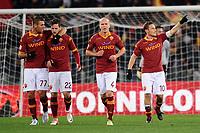 Esultanza di Francesco Totti dopo il gol (Roma)<br /> 08/12/2012 Roma<br /> Stadio Olimpico<br /> Football Calcio 2012 / 2013 <br /> Campionato di Calcio Serie A<br /> Roma vs Fiorentina<br /> Foto Insidefoto / Antonietta Baldassarre