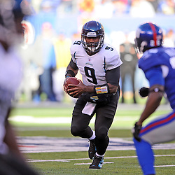 Quarterback David Garrard #9 of the Jacksonville Jaguars rushes the ball during NFL football action between the New York Giants and Jacksonville Jaguars on Nov. 28, 2010 at MetLife Stadium in East Rutherford, N.J.