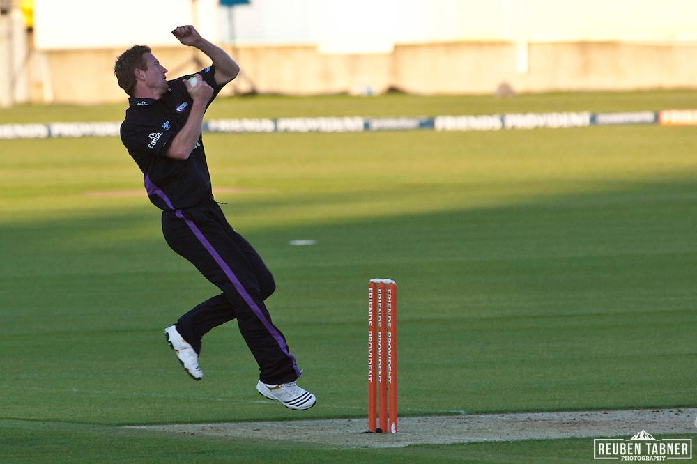 Paul Collingwood bowls for Durham Dynamos against Leicestershire Foxes at the Emirates Durham ICG.