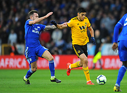 Raul Jimenez of Wolverhampton Wanderers trues to hold off Joe Ralls of Cardiff City - Mandatory by-line: Nizaam Jones/JMP - 02/03/2019 - FOOTBALL - Molineux - Wolverhampton, England -  Wolverhampton Wanderers v Cardiff City - Premier League
