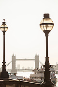View of Tower Bridge and sightseeing boat, London, England, UK