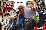 Fashion designer and activist Dame Vivienne Westwood speaks at Extinction Rebellions Carn-evil of Chaos Fashion Parade at the Brazilian Embassy on 1st May 2019 in London, England,UK. Climate change activist group Extinction Rebellion accuse the Brazilian government of wrecking biodiversity of the Amazon rainforest  for financial gain and to halt the contruction of a motorway through the forest.