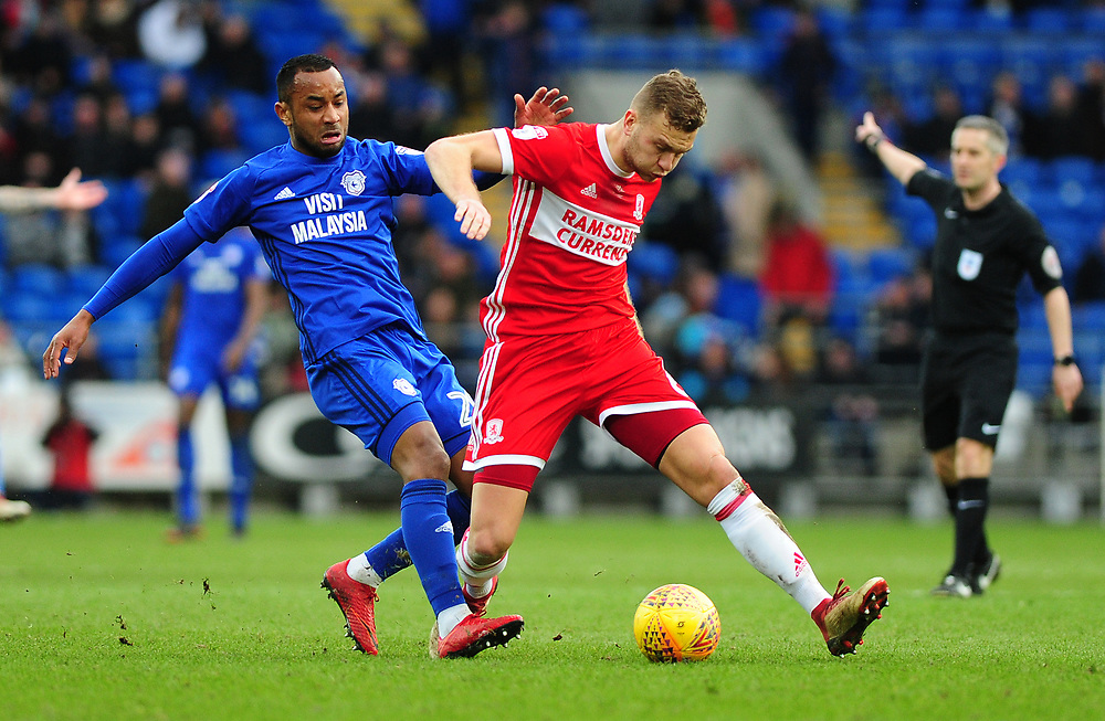 Cardiff City's Loic Damour battles with Middlesbrough's Ben Gibson<br /> <br /> Photographer Ashley Crowden/CameraSport<br /> <br /> The EFL Sky Bet Championship - Cardiff City v Middlesbrough - Saturday 17th February 2018 - Cardiff City Stadium - Cardiff<br /> <br /> World Copyright © 2018 CameraSport. All rights reserved. 43 Linden Ave. Countesthorpe. Leicester. England. LE8 5PG - Tel: +44 (0) 116 277 4147 - admin@camerasport.com - www.camerasport.com
