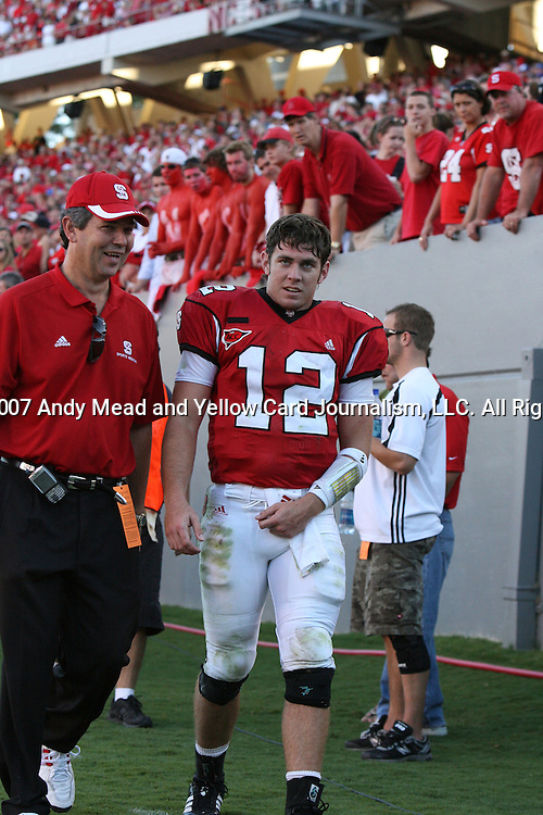 29 September 2007: North Carolina State's Harrison Beck left the game with a shoulder injury. The University of Louisville Cardinals defeated the North Carolina State University Wolfpack 29-10 at Carter-Finley Stadium in Raleigh, North Carolina in an NCAA College Football Division I game.