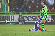 Forest Green Rovers Christian Doidge(9) shoots at goal saved by Exeter City goalkeeper Christy Pym(1) during the The FA Cup match between Forest Green Rovers and Exeter City at the New Lawn, Forest Green, United Kingdom on 2 December 2017. Photo by Shane Healey.