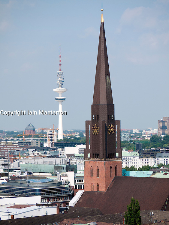 Cityscape of city of Hamburg with contrasting old and new spires in Germany