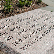 An inscription from an LBJ speech at the Lyndon Baines Johnson Memorial Grove. The memorial is set in Lady Bird Johnson Park on the banks of the Potomac on the George Washington Memorial Parkway in Arlington, Virginia.