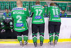 Ralph Intranuovo, Kevin Mitchell, Nik Zupancic, Egon Muric and Mike Morrison of HDD Tilia Olimpija before new season 2008/2009,  on September 17, 2008 in Arena Tivoli, Ljubljana, Slovenia. (Photo by Vid Ponikvar / Sportal Images)